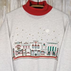 Vintage XMAS Holiday Turtleneck Crewneck Large